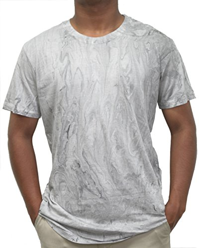 - Ace Apparels Men's Crew Neck Tie Dye Marble Wash Tee, White/Grey (L)