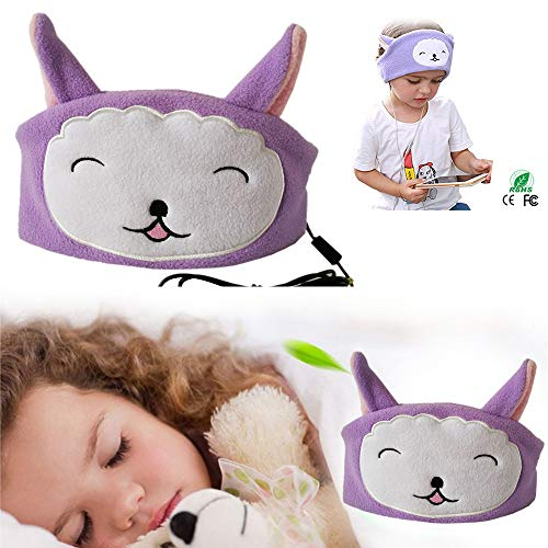 ❤️MChoice❤️Children's Plush Cartoon Wire-Controlled Head-Mounted Sleep Headphones Earphone (Purple)