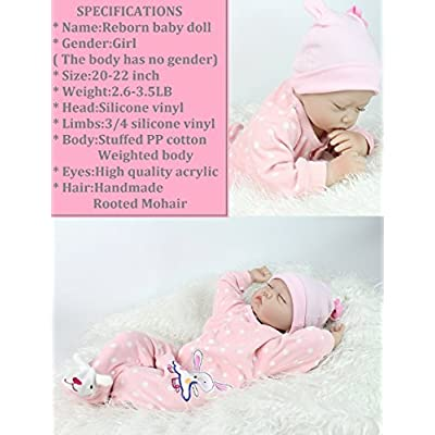 NPK Lifelike Reborn Baby Dolls Girl Soft Silicone 22 inchs 55 cm Realistic Handmade Weighted Body Pink Rabits Outfit Eyes Closed Sleeping: Toys & Games