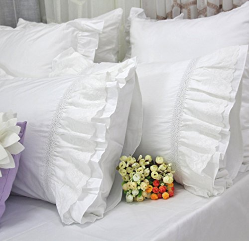 Queen's House Shams Cotton Lace White Pillowcases Set of 2-