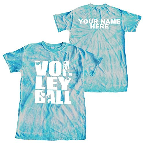 JANT girl Custom Volleyball Tie Dye T-Shirt Stacked Logo (Turquoise, M)