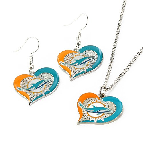 Dolphins Round Ring (NFL Miami Dolphins Swirl Heart Earrings & Pendant Set)