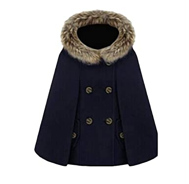 2436b85652969 Lutratocro Women s England Thick Faux Fur Hood Double Breasted Winter  Poncho Pea Coat Dark Blue Small