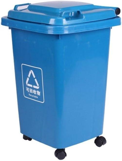 C-J-Xin Ruedas Papelera, jardín al Aire Libre fácil de Mover Anuncio Cubo de Basura Saneamiento multifunción Comercial Papelera Square Alta Capacidad (Color : Blue, Size : 50L): Amazon.es: Hogar