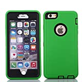 "iPhone 6 Plus/6S Plus Case, Crosstree Heavy Duty Shockproof Series Case for iPhone 6 Plus /6S Plus (5.5"") with Built-in Screen Protector Compatible with all US Carriers (Green/Black)"
