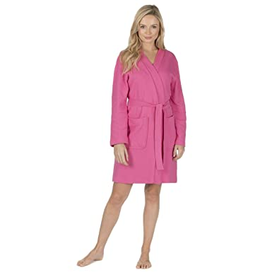 Ladies Waffle Weave Bath Robe (Sizes S-XL) Cotton Blend Spa Wrap Dressing  Gown  Amazon.co.uk  Clothing bdf055f57