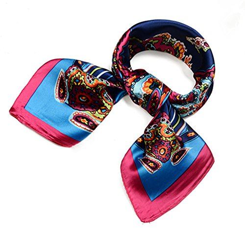 QBSM Womens Navy Cashew Square Satin Silk Neck Head Hair Scarf Wraps Neckerchief