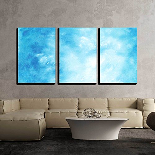 vas Wall Art - Abstract Hand Drawn Watercolor Background Blue Sky and White Clouds - Modern Home Decor Stretched and Framed Ready to Hang - 24