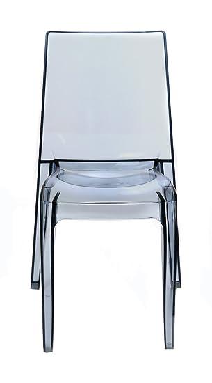 IdClick Lot De 4 Chaise Polycarbonate Transparente Grise Frost