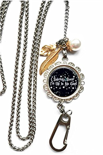 (RhyNSky I Solemnly Swear That I Am Up To No Good Chain Lanyard Necklace Bracelet Keychain Eyeglass Holder for ID Card Name Tag Badge Holder with Clasp, C115)
