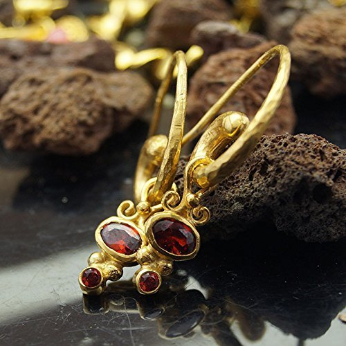 Garnet Charm Hammered Horn Earrings 24 k Gold over 925 k Silver Design By Omer Handmade Turkish Jewelry