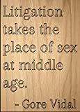 ''Litigation takes the place of sex at...'' quote by Gore Vidal, laser engraved on wooden plaque - Size: 8''x10''