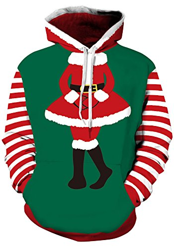 (Leapparel Christmas Hoodie Unisex 3D Graphic Christmas Dress Designer Ugly Santa Xmas Hooded Pullover Sweatshirt Clothing for Adults Green)