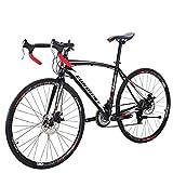 Eurobike Road Bike TSM 550 49 cm Frame 21 Speed Dual Disc Brake 700C Wheels Bicycle Black White