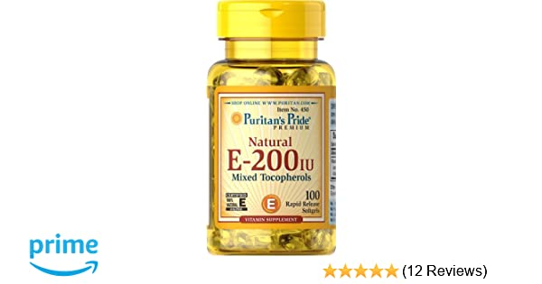 Amazon.com: Puritans Pride Vitamin E-200 iu Mixed Tocopherols Natural-100 Softgels: Health & Personal Care