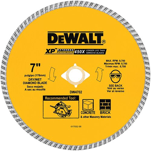 Wet Cutting Circular Saw - DEWALT DW4702 Industrial 7-Inch Dry or Wet Cutting Continuous Rim Diamond Saw Blade with 5/8-Inch and Diamond Knockout Arbor