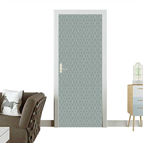 Door Sticker Wall Decals Authentic Style Curved Oval Floral Motifs Light Sage Green White Easy to Peel and StickW17.1 x H78.7 INCH (Sage Pizza Peel)