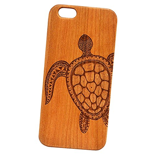 Mandala Sea Turtle Engraved Cherry Wood Cover for iPhone and Samsung phones - Samsung Galaxy s5 Cherry Phone Cover