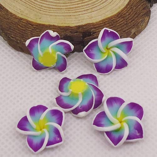 Fimo Plumeria Earrings - Pukido 20pc/lot 20mm Yiwu Market Beautiful Soft Clay Polymer Fimo Plumeria Flower Beads Decorated Hawaii Earring Jewelry Craft Material - (Color: Purple)