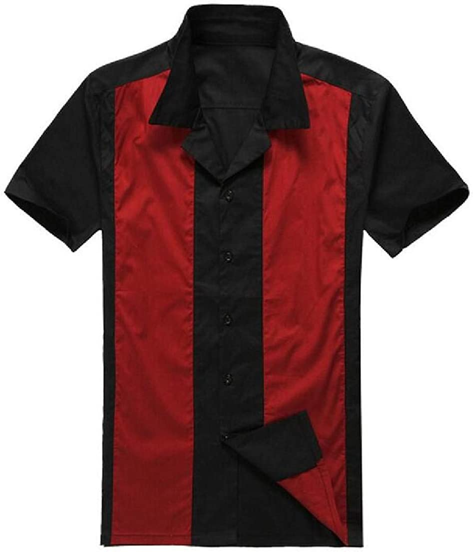 Abeaicoc Men Short Sleeve Spread Collar Casual Fashion Print Polo T-Shirts