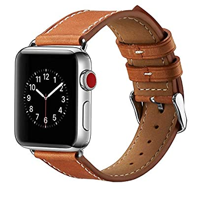 for Apple Watch Band 38mm/42mm Leather, WISLECT Vintage Watchband Leather Belt Watch Wrist Belt Bracelet Bands for iWatch from WISLECT