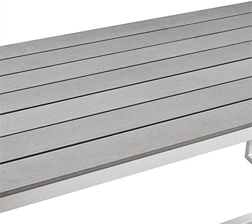Natural Greige Patio Bench in Gray