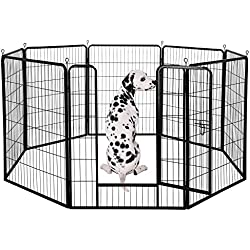 Yaheetech Portable Metal Fence Folding Pet Playpen with Door/Gate for Large/Small Animals Outdoor/Indoor Dog/Cat/Puppy/Rabbits Exercise/Play Pen 8 Panels