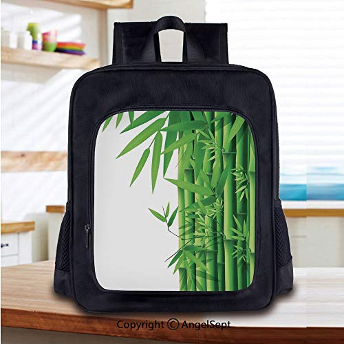 - School Backpack,Modern Illustration of Fresh Bamboo Stems Leaves with Colors Exotic Nature Home Decor Decorative School Bags Student Stylish Book Bag Daypack for Little Boys and Girls,Green White