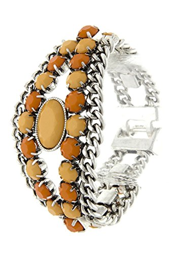 Diva Beaded Bracelets (DIVA & DUCHESS COLOR BEADED DESIGN CHAIN BRACELET (Orange))