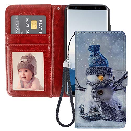 Snowman Samsung Galaxy Note 8 Case for Kickstand PU Leather Card Slot Magnetic Flip Wristlet Phone Cover Samsung Galaxy Note 8 Snowman Wallet Case