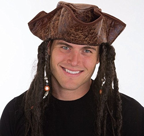 Jacobson Hat Company Men's Caribbean Pirate with Braids, Brown, One Size (Lorac Pirates Of The Caribbean Palette Review)
