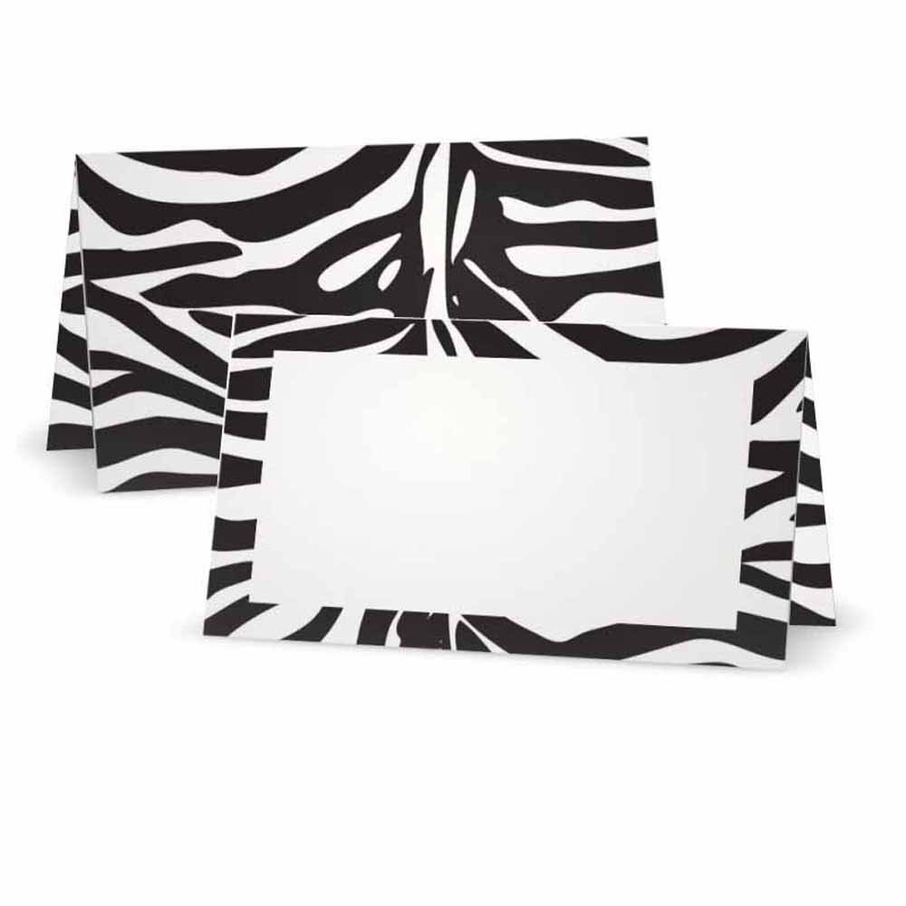 Zebra Animal Print Place Cards - FLAT or TENT Style - 10 or 50 PACK - White Blank Front with Border - Placement Table Name Seating Stationery Party Supplies Dinner Occasion Event (50, TENT STYLE)