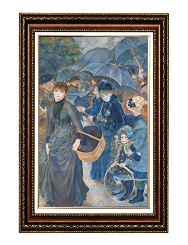 Eliteart- The Umbrellas By Pierre-Auguste Renoir Oil Painting Reproduction Giclee Wall Art Canvas Prints-Framed Size:36