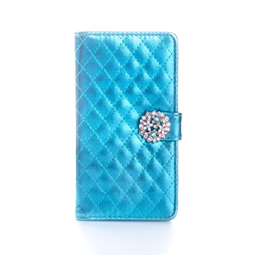 Book Style Design Handy Tasche Karo Metallic mit Visitenkartenfunktion und Strassblumen applikation Flip Cover Schutz Hülle Schale Klapp Etui Case Modern Bag für Apple iPhone 5 5S in Türkis
