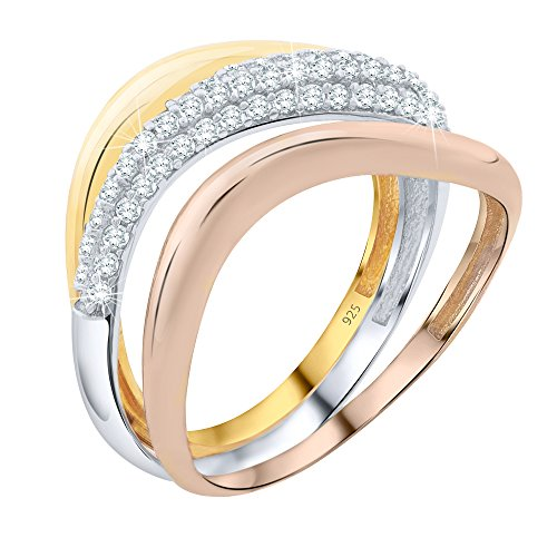 Iridescent Winter Costumes (Women's 3 Bands Tri-Color Gold Rose Gold Plated Sterling Silver .925 Wave Design Rings with Pave' Cubic Zirconia (CZ) Stones)