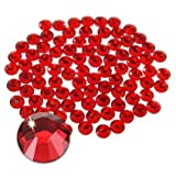 Jollin Hot Fix Flatback Rhinestones Glass Diamantes Gems(16ss 576pcs,Red)