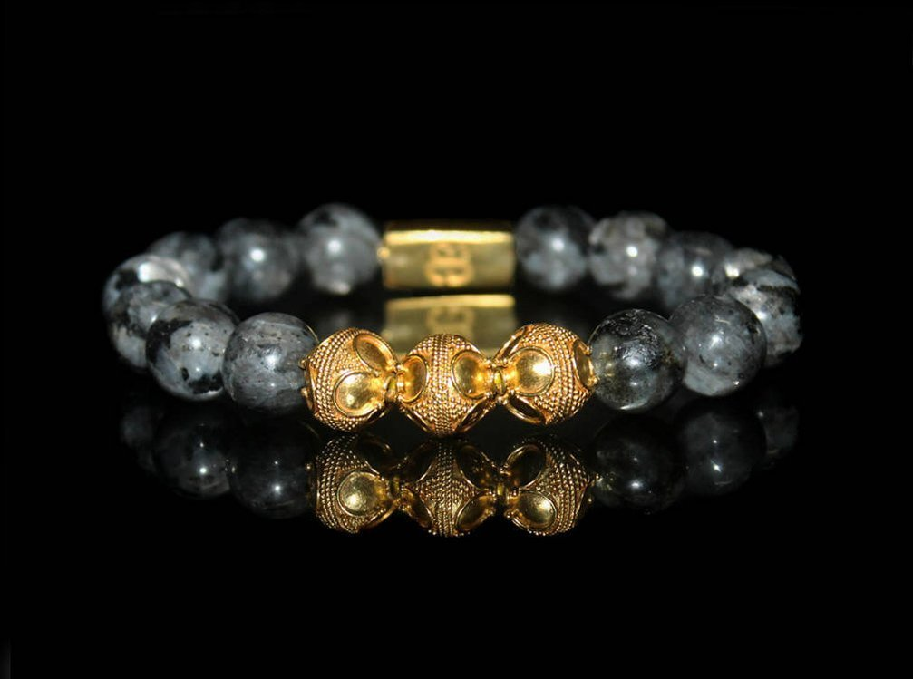 Men's Labradorite Bracelet, Labradorite and 22 Karat Gold Plated Sterling Silver Beads Bracelet, Men's Luxury Bracelet