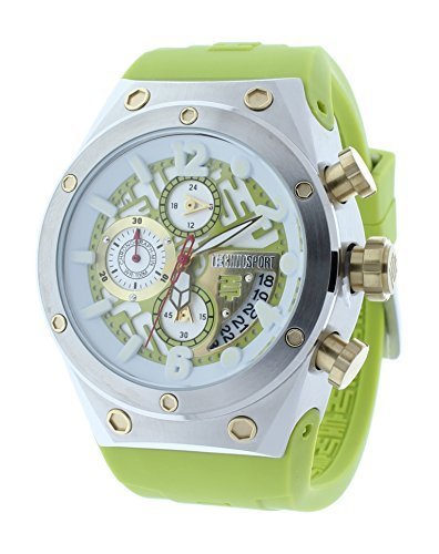 Technosport TS-820-6 Unisex Chronograph Lime Green Watch Gold-Tone Accents GMT