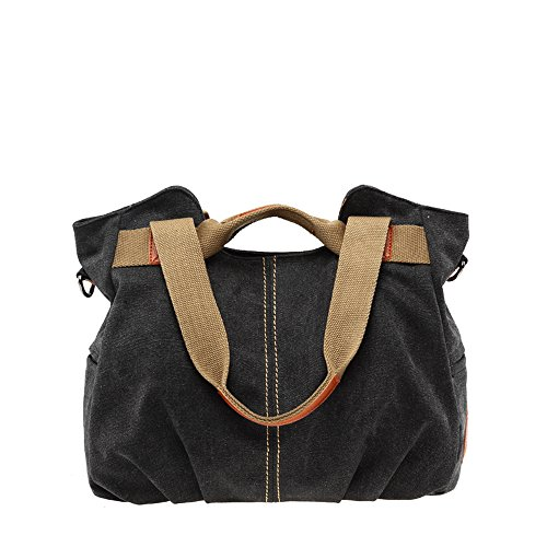 Gurscour Women Men's Canvas Cross-Body Bags Shouder Bag Canvas Bag Travel Bag Messenger Bag Hobo Bag Unisex School Satchel, Vintage Bucket Handbag EU-827 825-black