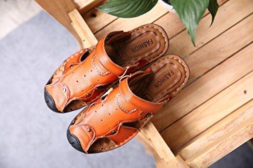 Xing Lin Sandalias De Verano Los Hombres Sandalias De Cuero Cuero _ Primera Capa De Tendón Sandalias De Cuero Para Hombres Sandalias De Cuero Zapatillas Macho Golden
