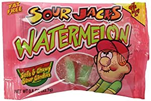 Sour Jacks Watermelon Soft and Chewy Sour Candies 0.8 Ounce Bags (Pack of 24)