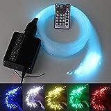 16W RGBW 28key RF remote LED fiber optic star ceiling lighting kit 300pcs 9.8ft 0.75mm+Crystal