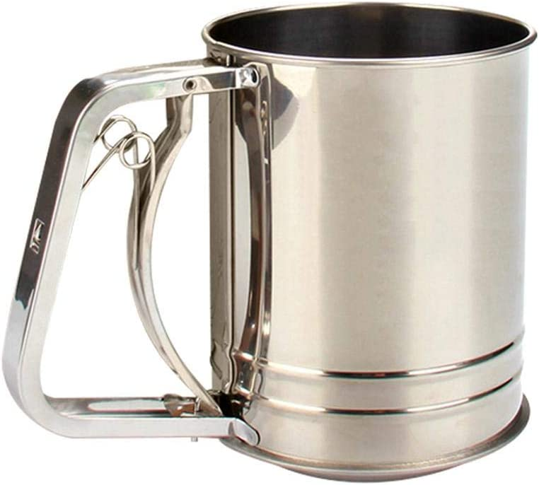 Stainless Steel Flour Sifter Hand Crank Three-Layer Hand-Pressed Flour Sieve Baking Tools for Powdered Sugar For Kitchen