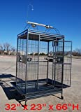 Extra Large 32''W x 23''D x 66''H Parrot Cage Macaw Cockatoo African Grey Amazon Iron Wrought Cage With Toy Hood