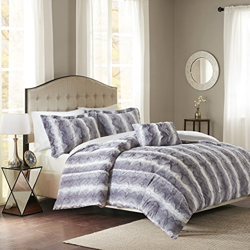 Madison Park Zuri Duvet Cover King Size - Grey, Animal Duvet Cover Set - 4 Piece - Faux Fur Light Weight Bed Comforter Covers