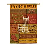 Evergreen Fall Porch Rules Outdoor Safe Double-Sided Suede House Flag, 29 x 43 inches