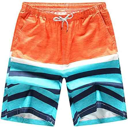 d1a7a35c9a1 BOBOYU-Men Drawstring Casual Quick Dry Straight Leg Printing Swim Trunk
