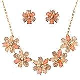 Lux Accessories Peach Caviar Glitter Flower Statement Necklace Earring Set