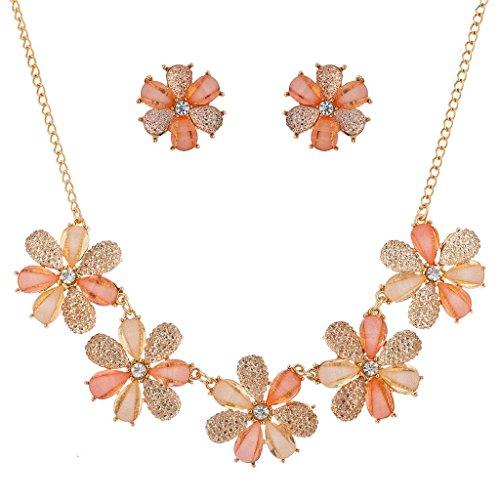 - Lux Accessories Peach Caviar Glitter Flower Statement Necklace Earring Set