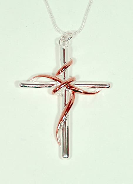 Color Twisted Cross Necklace Pendant  Silver Sterling Jewelry For Women Gift